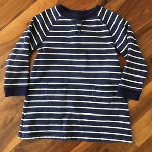 Mini Boden Dresses - Mini Boden Navy Stripe Sweatshirt Dress